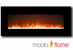 50 Inch Crystal Black Wall Mounted Electric Fireplace