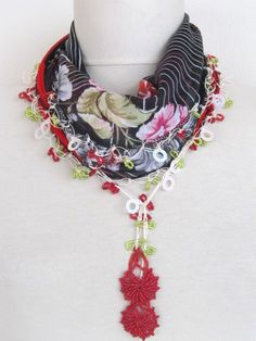 FREE SHIPPING...Coupon Code VALENTINES.. Only between 15-30 January 2012..  BLACK & RED Multicolor Turkish Yemeni OYA Scarf by asuhan on Etsy, $19.90