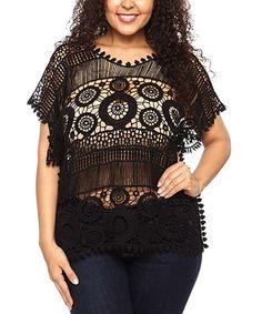 Look at this #zulilyfind! Black Sheer Crochet Scoop Neck Top - Plus by C.O.C. #zulilyfinds