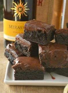 Pinot Noir Brownies - The wine in these really gives a little oomph to the brownies and ganache topping, without tasting much like wine. Good way to use up that little bit you've got left in the bottle.