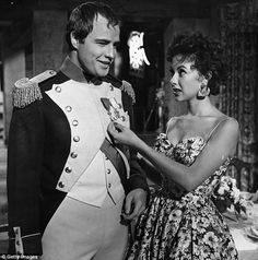 Former flames: Rita Moreno is detailing her eight-year relationship with Marlon Brando in a new interview (above on the set of the 1954 film Désirée) Marlon Brando Superman, Marlon Brando Children, Marlon Brando Eye Roll, Marlon Brando Wife, Marlon Brando Movies, Marlon Brando James Dean, Rita Moreno, The Godfather, Brando Godfather