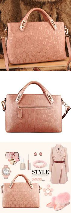 Women's #pink genuine leather #satchel bags with embossing design