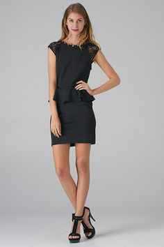 Lace Contrast Open Back Peplum Dress (Black) - Front