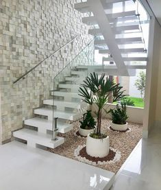 33 indoor garden office and office plants design 6 ~ House Of Gallery Home Stairs Design, Duplex House Design, House Front Design, Railing Design, Dream Home Design, Modern House Design, Staircase Design Modern, Modern House Facades, Stair Design