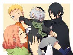 Little Kakashi and his Older Pupils Naruto Team 7, Naruto Kakashi, Anime Naruto, Naruto Comic, Naruto Fan Art, Sarada Uchiha, Naruto Cute, Naruto Funny, Naruto Shippuden Anime