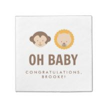 Coordinating baby shower party napkins to match our cute monkey and lion Jungle Theme baby shower invitations, postage stamps, thank you cards, paper plates + other baby shower party supplies. Visit our store to see all products in this design.