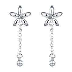 Boucles d'oreilles Femme Branché Fleur Plaqué argent Argenture Zircon