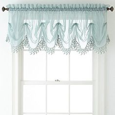 Home Expressions Lisette Sheer Macramé Tuck Valance - JCPenney Coastal Curtains, Shabby Chic Curtains, Valance Window Treatments, Window Coverings, Scarf Valance, Valance Curtains, Valance Patterns, Sheer Valances, Tranquil Bedroom