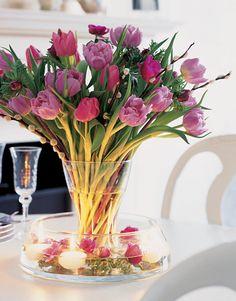 Judith Blacklock spring flower arrangement. Pink tulips.
