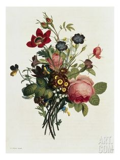 Bouquet of Rose and Lily of the Valley Giclee Print by Jean Louis Prevost at Art.com