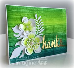 Thank You Card. There are a number of ways to create texture with crafting products. One could use a paste with a stencil, layer multiple inks or use acrylics. But in today's blog, Martha Lucia Gomez creates a beautiful and lush visual texture using Fresh Greens Kaleidacolor palette, die cuts, and embossing powder. Check out her tutorial! #diy #cardmaking #handmade