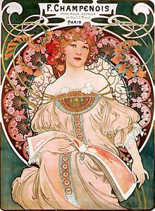 F. Champenois Imprimeur-Éditeur, lithograph, 1897 Alphonse Mucha Art Nouveauion is an international style of art, architecture and applied art, especially the decorative arts. It was inspired by natural forms and structures in the 19th century, not only in flowers and plants, but also in curved lines. This painting which shows the ordinary European style of art which has the international art style. This paint also is influenced by some religions.