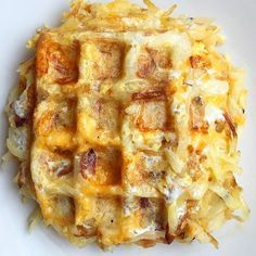 Bacon, Egg And Cheddar Hashbrown Waffles
