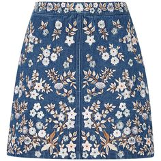 Needle & Thread     Denim Embroidery High Waist Skirt (330 CHF) ❤ liked on Polyvore featuring skirts, mini skirts, bottoms, saias, blue, high-waisted skirts, embroidered mini skirt, blue skirt, embroidered skirt and denim skirt