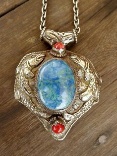 Large Vintage Chrysocolla Pendant with Repousse Detail