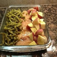 "This was SO good!!"" 4-6 raw chicken breasts, new potatoes, green beans (fresh or canned-really any green veggie would work. Broccoli is good, too). Arrange in 9x13 dish. Sprinkle with a packet of Italian dressing mix and then top with a melted stick of butter. Cover with foil and bake at 350 degrees for 1 hour."