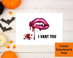 Halloween Card for Boyfriend, Halloween Card for Husband, Naughty Vampire Card, Digital Download, Vampiress Card