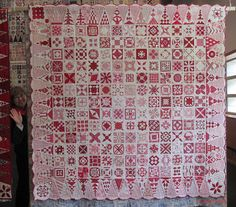 Dear Jane in pink, red and white by Betty Prins - Netherlands. Posted by Country Threads