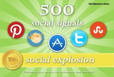 http://fiverr.com/dripservice/provide-you-social-explosion-package-with-500-manual-social-signals-pr6-to-pr10 - Social Explosion Your links will get shared on the Top 5 major soc1al networks & bookmarking sites: Twitter, Stumbleupon, App.net, Bitly, Pinterest (100 for each). It's a great way to promote in Google  and other search engines will index your site(s) using authority backlinks that can improve SEO & traffic. https://www.facebook.com/bestfiver/posts/1437682753111362