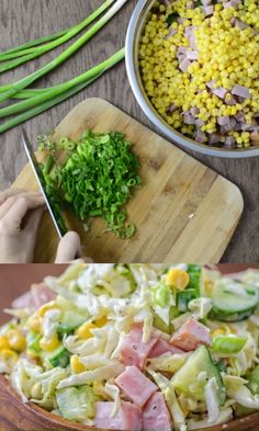 Made with fresh cabbage, cucumbers, ham, corn and scallions, this tasty and crunchy Cabbage and Ham Salad makes a quick lunch or side dish. Easy Salads, Summer Salads, Easy Meals, Salads For Lunch, Dinner Salads, Summer Food, Healthy Salad Recipes, Vegetarian Recipes, Cooking Recipes