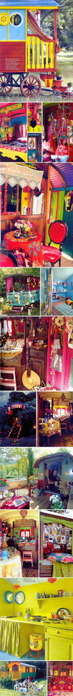 Amazing colorful Caravan.... bohemians and gypsies... six of one, half a dozen of the other huh?