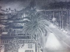 Franklin Village, Hollywood, CA x A street in Hollywood, Ca under the Hollywood sign. Hollywood Sign, Pencil Drawings, Pergola, Around The Worlds, France, Fine Art, Street, Outdoor, Women