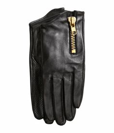 H&M Leather gloves £19.99 DESCRIPTION PREMIUM QUALITY. Gloves in soft leather with a short shaft with a chunky zip on the outside and perforated leather sections on the palm, and inside of the thumb and index finger. Thin lining. DETAILS 100% leather. Art.No. 71-3657