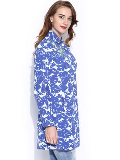 Buy Desigual Blue & White Printed Jacket - Jackets for Women | Myntra