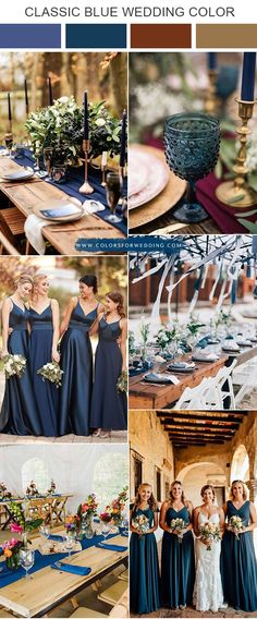 fall classic blue and burgundy wedding color ideas