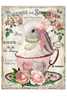 Images Vintage, Vintage Cards, Madeleine Paris, French Symbols, Lapin Art, Decoupage Vintage, Pillow Fabric, Vintage Easter, Easter Crafts