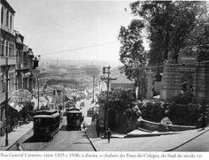 Entre 1925 e 1930 - Rua General Carneiro (em direção à rua 25 de Março). À direita temos o chafariz do Pátio do Colégio do final do século 19. Foto de autoria desconhecida. Acervo do Instituto Moreira Salles.