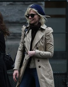 """Look as great as Kirsten Dunst in a crisp trench, wool scarf, and navy knit cap."" ~ www.theStyleUp.com"