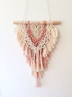 Small Macrame Wall Hanging Pink Blush Layered 100% Cotton Tapestry BOHO Chic Nursery Decor