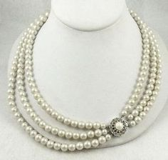 Simulated White Pearl Triple Strand Necklace - Garden Party Collection Vintage Jewelry