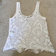 White lace tank top White lace see throu tank top Aeropostale Tops Tank Tops