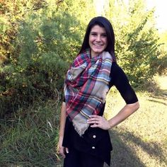 """The famous """"IT"""" scarf of the year is this oversized tartan blanket scarf! Layer this soft and cozy scarf with any look! You'll want to wear it everyday! The colors in this style are red, tan, green, b"""