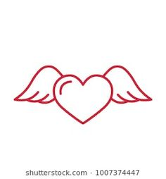 flying heart with wings red line icon on white background Forearm Wing Tattoo, Angle Wing Tattoos, Fairy Wing Tattoos, Butterfly Wing Tattoo, Wing Tattoos On Back, Tattoo Neck, Tattoo Bird, Broken Wings Tattoo, Cross With Wings Tattoo