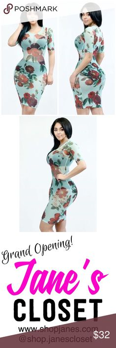 The FLORA dress The perfect vacation essential has arrived! Tight fitting, half sleeve sheer mesh dress with flower print pattern and round neckline secured by stitching.   Content: 95% Polyester 5% Spandex  🔹Currently not accepting offers 🔹Please no try-on requests: All brand new merchandise 🔹All clothing are made in the USA  Follow us on Instagram @shop.janescloset and like our FB Page www.facebook.com/shopjanescloset. Check out my website www.shopjanes.com Dresses Midi