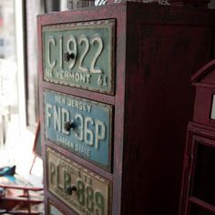 Vintage License Plate Drawers