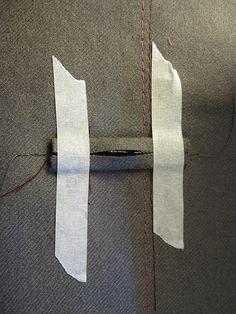 Bound Buttonhole using masking tape
