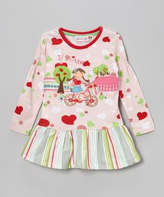 The adorable scene on this dress will melt anyone's heart! Soft cotton and a darling drop-waist on this number means playtime is as comfy as it is fun!