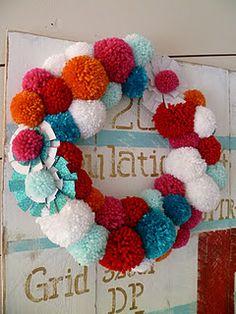 adorable pom pom wreath