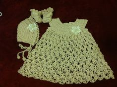 Crocheted Baby's Dress Bonnet and Booties FREE by BarbieCrochets