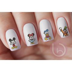 54 Mickey Friends Drawing Nail Decal ($3.50) ❤ liked on Polyvore featuring beauty products, nail care and nail treatments