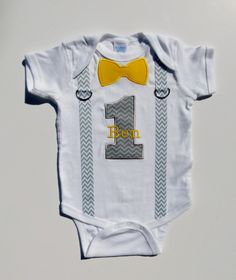 First Birthday Suspenders Outfit Personalized  Bow Tie 1 For 1st Birthday Boy Chevron Gray Yellow Or Choose Your Color