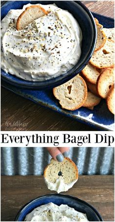 Everything Bagel Dip - A creamy party dip to serve with bagel chips. Everything Bagel Dip - An Affair from the Heart --A creamy dip made with everything bagel spice. Serve it with bagel chips! I dare you to try and leave it alone! Appetizer Dips, Yummy Appetizers, Appetizers For Party, Appetizer Recipes, Easy Party Dips, Hummus, Bagel Dip, Bagel Toppings, Tapas