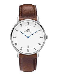 Daniel Wellington St Mawes Dapper dw00100095 Plata 34 mm Reloj piel, color marrón