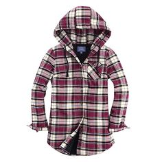 Alyson Plaid Flannel Shirt With Hood (Women) Burgundy Plaid this would be awesome for camping.