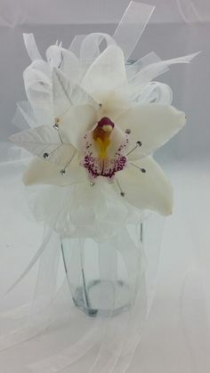 White Cymbidium Orchid Corsage with Ivory and White Accent