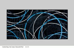 Kyle Bunting Hide Rug / Custom: Ink, Cream, Charcoal, & Pool 6' x 12' / In Stock - Available Now!